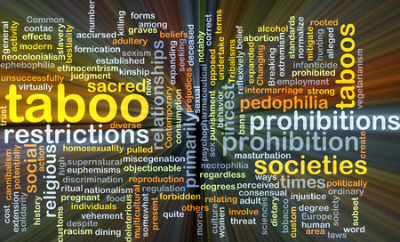 incest: Background concept wordcloud illustration of taboo glowing light Stock Photo
