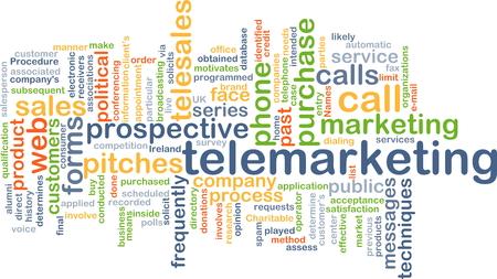 telemarketing: Background concept wordcloud illustration of telemarketing
