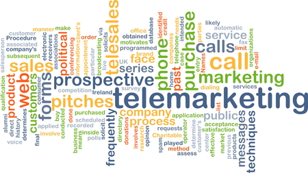Background concept wordcloud illustration of telemarketing