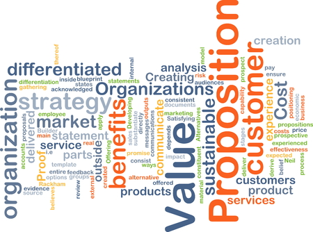 proposition: Background concept wordcloud illustration of value proposition Stock Photo