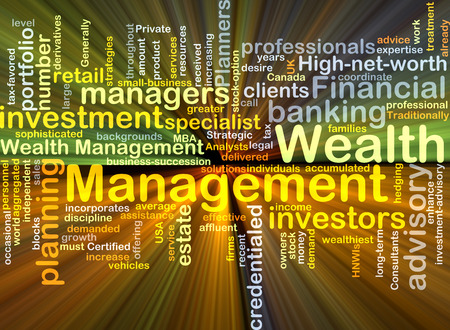 wealth management: Background concept wordcloud illustration of wealth management glowing light Stock Photo