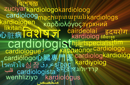 Background concept wordcloud multilanguage international many language illustration of cardiologist glowing light