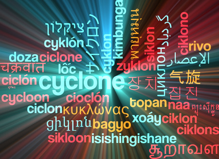 cyclone: Background concept wordcloud multilanguage international many language illustration of cyclone storm glowing light Stock Photo