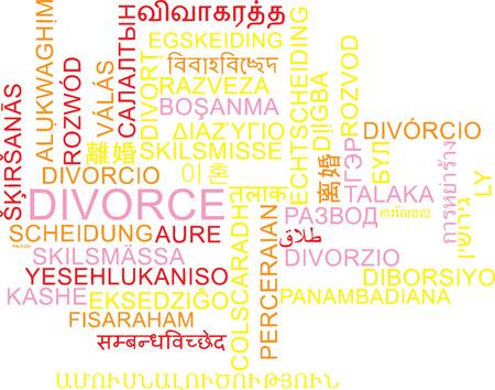 marital: Background concept wordcloud multilanguage international many language illustration of divorce Stock Photo
