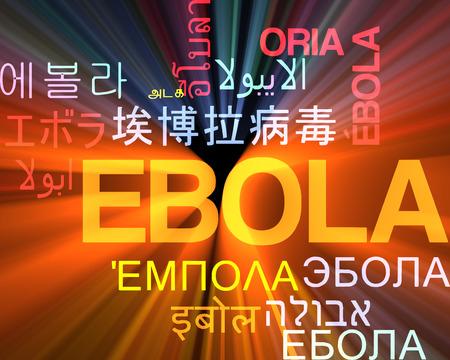 Background concept wordcloud multilanguage international many language illustration of ebola glowing light Stock Photo