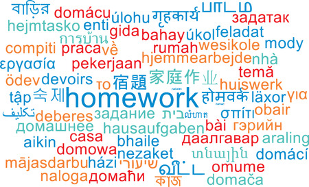 assignments: Background concept wordcloud multilanguage international many language illustration of homework