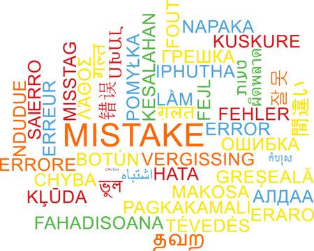 mistake: Background concept wordcloud multilanguage international many language illustration of mistake