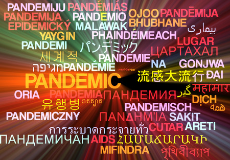 widespread: Background concept wordcloud multilanguage international many language illustration of pandemic glowing light