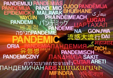 pandemic: Background concept wordcloud multilanguage international many language illustration of pandemic glowing light