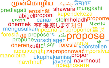 propose: Background concept wordcloud multilanguage international many language illustration of propose