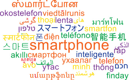 wordcloud: Background concept wordcloud multilanguage international many language illustration of smartphone
