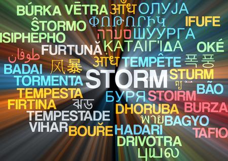 disturbed: Background concept wordcloud multilanguage international many language illustration of storm glowing light Stock Photo