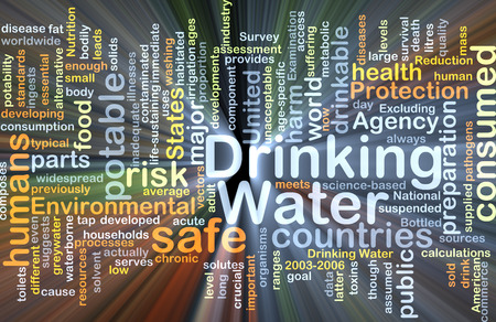potable: Background concept wordcloud illustration of drinking water glowing light