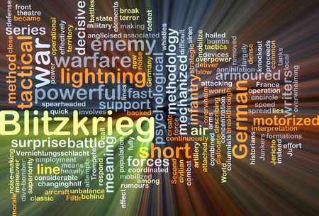 Background concept wordcloud illustration of blitzkrieg glowing light
