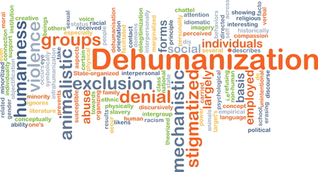 interpersonal: Background concept wordcloud illustration of dehumanization