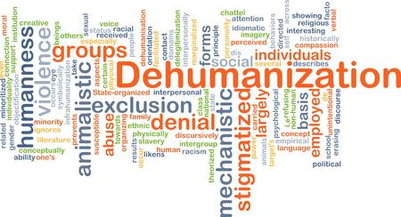 Background concept wordcloud illustration of dehumanization