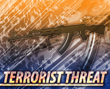threat: Abstract background digital collage concept illustration terrorist threat