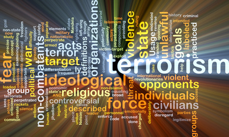practiced: Background concept wordcloud illustration of terrorism glowing light Stock Photo