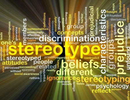 estereotipo: Concepto de fondo wordcloud ilustración de la luz que brilla intensamente estereotipo Foto de archivo