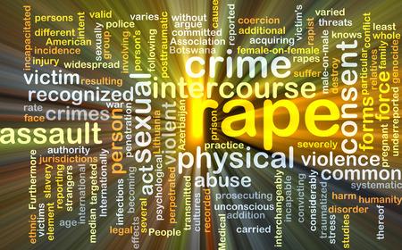 Wordcloud Hintergrund Konzept der Vergewaltigung glühenden Licht