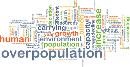 overpopulation: Background concept wordcloud illustration of overpopulation Stock Photo