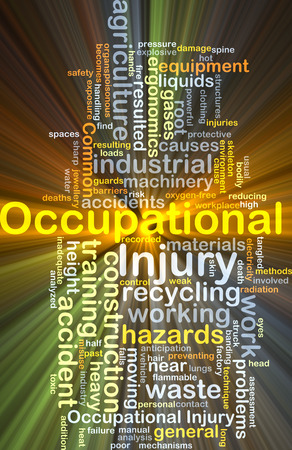 ergonomics: Background concept wordcloud illustration of occupational injury glowing light Stock Photo