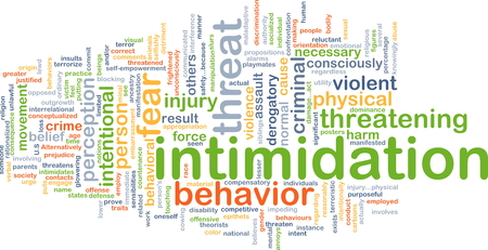 intentional: Background concept wordcloud illustration of intimidation