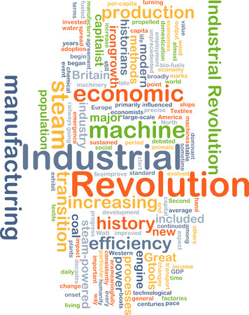 historians: Background concept wordcloud illustration of industrial revolution Stock Photo
