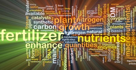 enzymes: Background concept wordcloud illustration of fertilizer glowing light Stock Photo