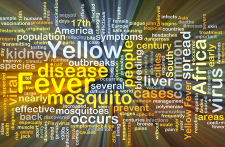 yellow fever: Background concept wordcloud illustration of yellow fever glowing light