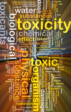 toxicity: Background concept wordcloud illustration of toxicity glowing light