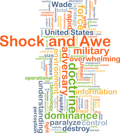 rapidity: Background concept wordcloud illustration of shock and awe Stock Photo