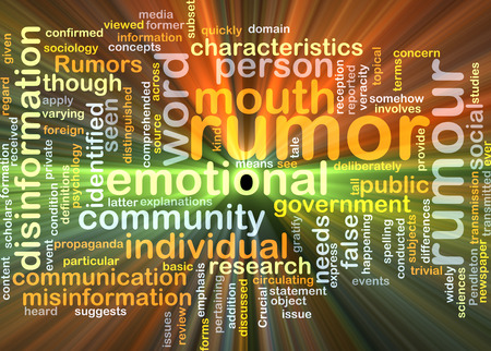 rumor: Background concept wordcloud illustration of rumor glowing light Stock Photo