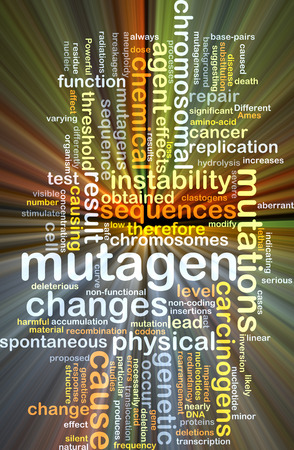 chromosomal: Background concept wordcloud illustration of mutagen glowing light