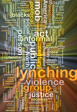 blacks: Background concept wordcloud illustration of lynching glowing light