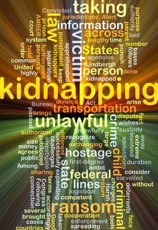 kidnapping: Background concept wordcloud illustration of kidnapping glowing light Stock Photo