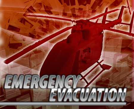 evacuation: Abstract background digital collage concept illustration emergency helicopter evacuation Stock Photo