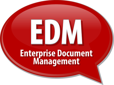 document management: word speech bubble illustration of business acronym term EDM Enterprise Document Management
