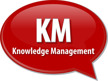 km: word speech bubble illustration of business acronym term KM Knowledge Management