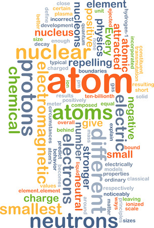 protons: Background concept wordcloud illustration of atom