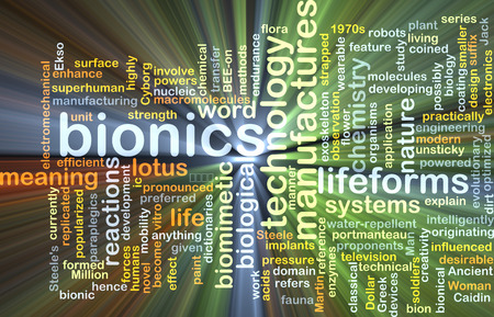 Background concept wordcloud illustration of bionics glowing light