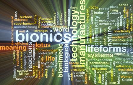 bionics: Background concept wordcloud illustration of bionics glowing light