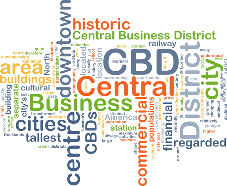 business district: Background concept wordcloud illustration of central business district CBD