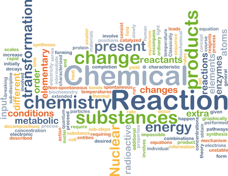 chemical reaction: Background concept wordcloud illustration of chemical reaction