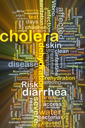 Background concept wordcloud illustration of cholera glowing light