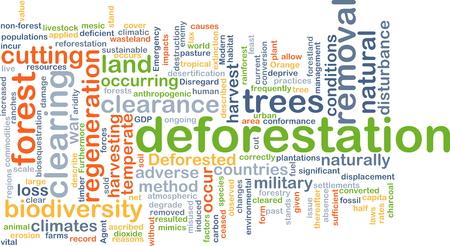 deforested: Background concept wordcloud illustration of deforestation Stock Photo