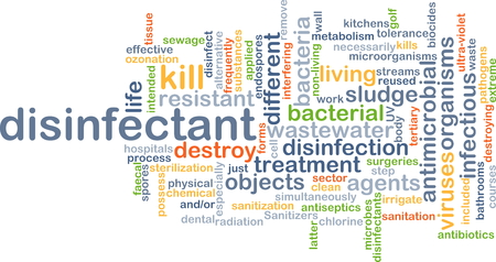 pathogens: Background concept wordcloud illustration of disinfectant Stock Photo