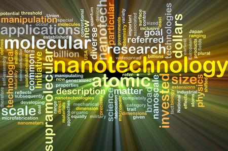 nanotechnology: Background concept wordcloud illustration of nanotechnology glowing light
