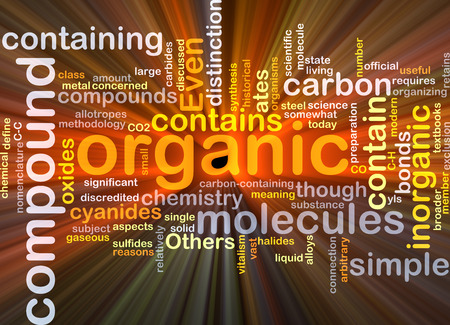 compound: Background concept wordcloud illustration of organic compound glowing light