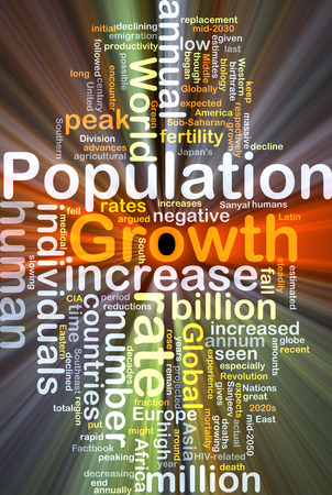 population growth: Background concept wordcloud illustration of population growth glowing light